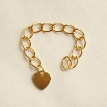 Gold Plated 6cm Extension Chain with Flat Heart - 1